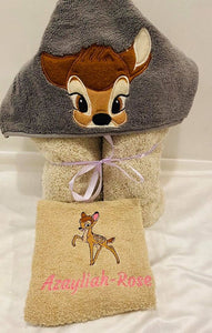 Bambi Hooded towel and face washer