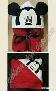 Red/Black Mouse Hooded Towel