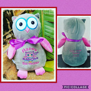 Pink/Grey  Owl Teddy