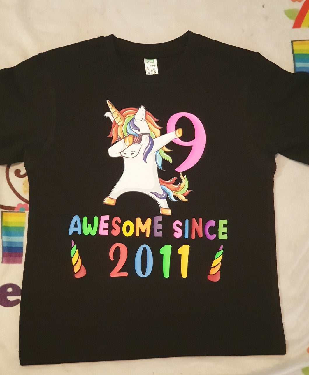 Unicorn Dabbing Birthday Tee