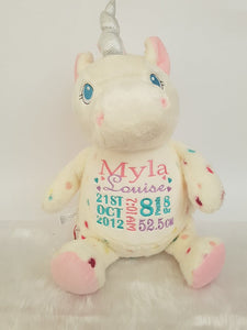 White Rainbow Unicorn Teddy
