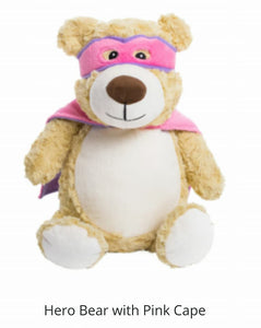 Pink Super HEro Bear.