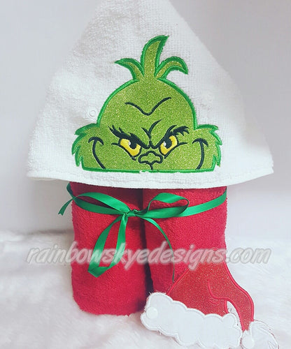the Grinch and lady hooded towel