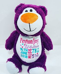 Cubbyford the Purple Bear.