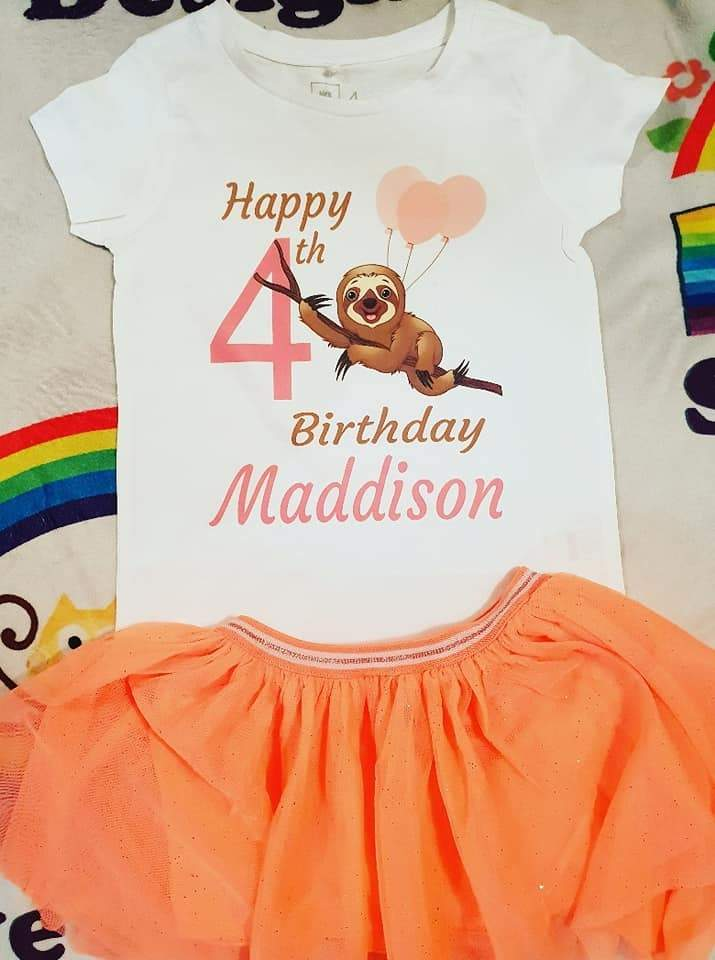 Sloth girls  birthday set