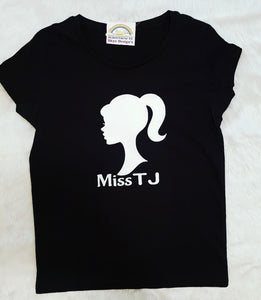 barbie silhouette Kids Tshirt