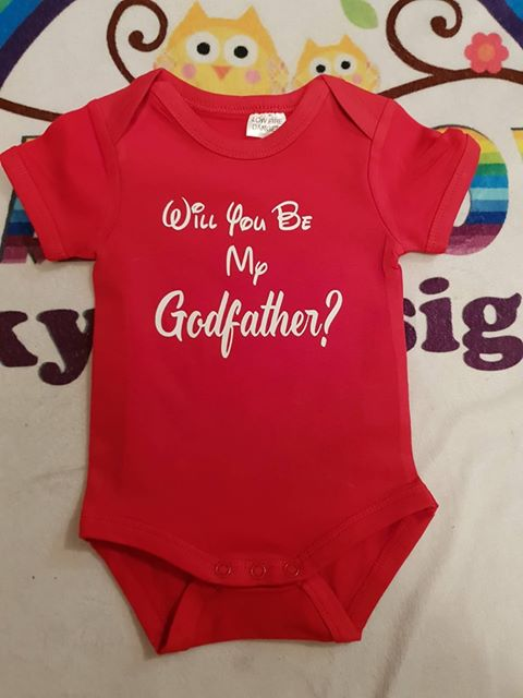 will you be my godfather baby suit