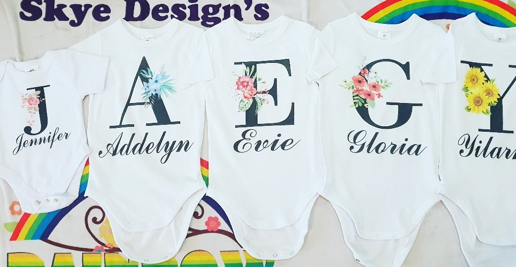 cd9d991dc7a2 Letter Name baby rompers tshirts – Rainbow Skye Designs