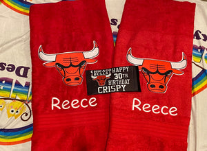 Bulls basketball personalised towel