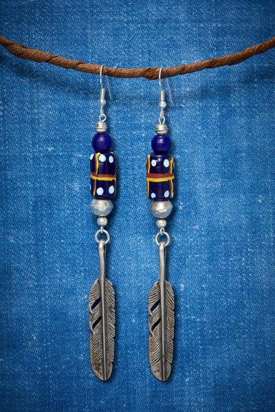 ABSTRACT NAVY STERLING FEATHER EARRINGS