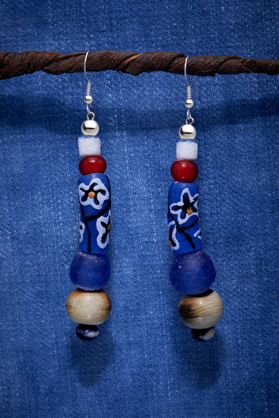 BLUE AND RED BLOSSOM EARRINGS