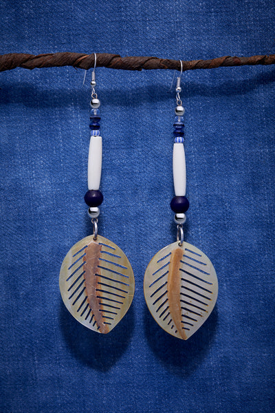 WHITE AND NAVY LEAF EARRINGS