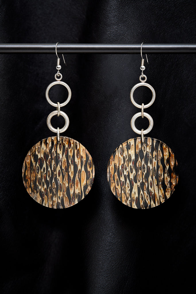 STERLING SILVER  DOUBLE CIRCLE SAFARI EARRINGS