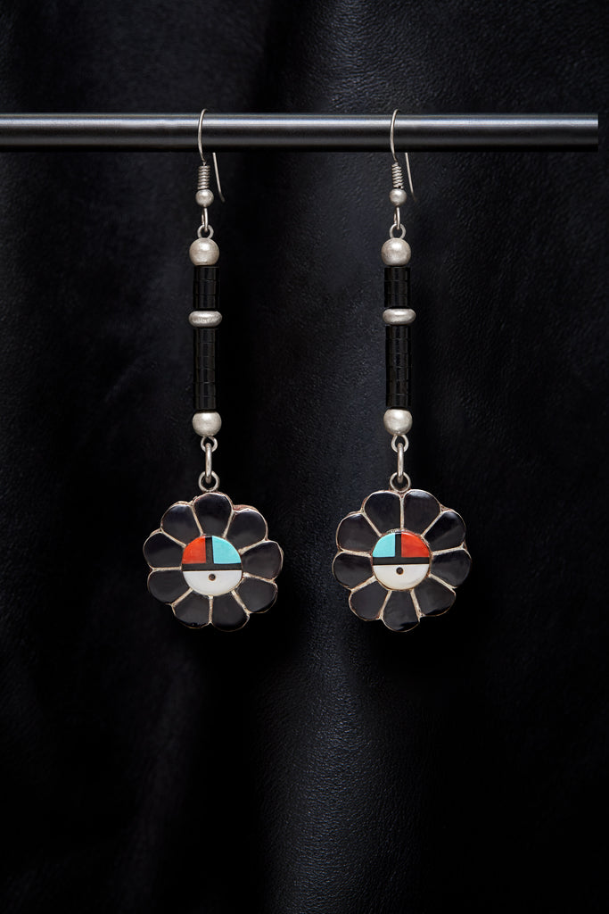 JET AND VINTAGE STERLING SILVER COLORFUL INLAY DROP EARRINGS