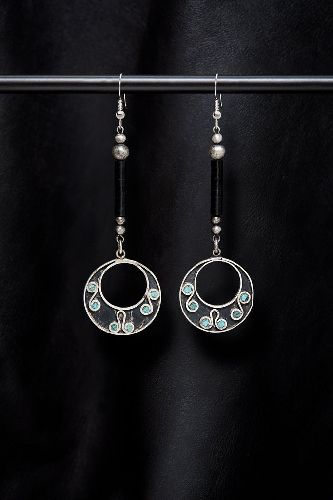 JET AND VINTAGE STERLING SILVER TURQUOISE INLAY DROP EARRINGS