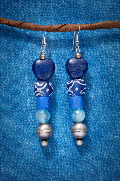 LAPIS HEART AND SOUL EARRINGS