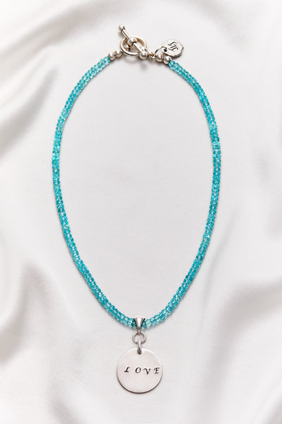 APATITE BLUE LOVE NECKLACE