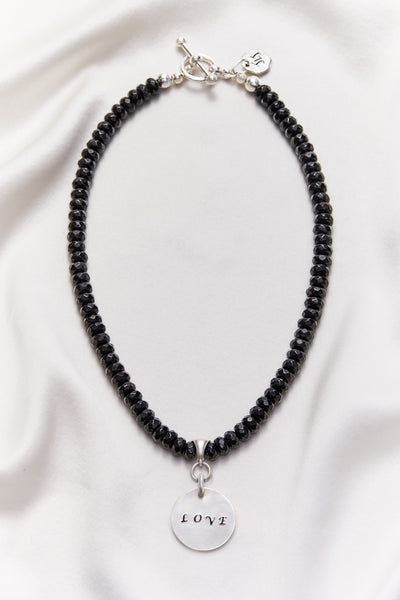 BLACK ONYX LOVE NECKLACE