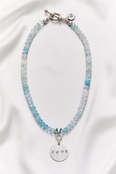 SHADED BLUE TOPAZ LOVE NECKLACE