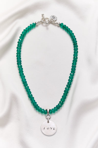 GREEN ONYX LOVE NECKLACE