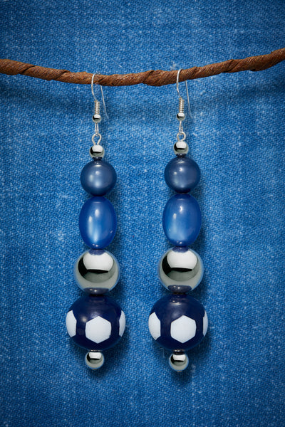 MODERN BLUE POLKADOT AND STERLING SILVER EARRINGS