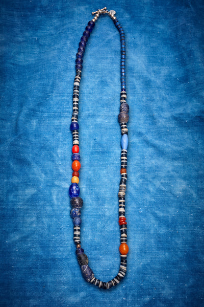 RUGGED NAVY AND ORANGE STRIPE NECKLACE