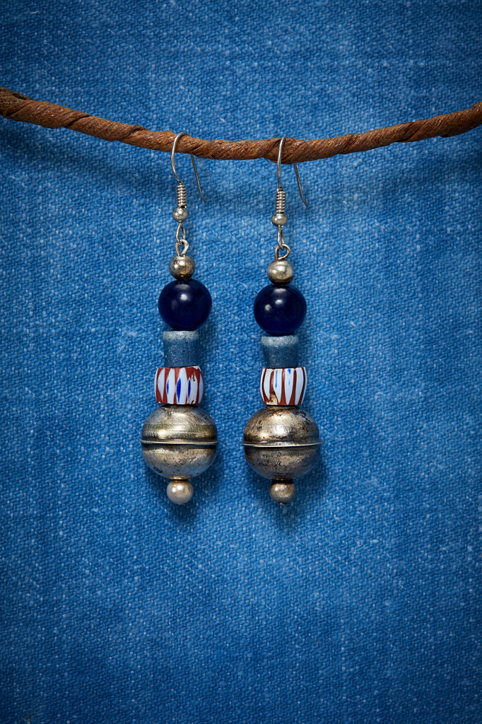 RUSTIC INDIGO AND STRIPE STERLING SILVER EARRINGS