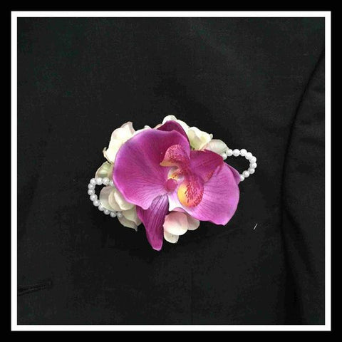 Artificial Orchid Corsage with Pearls - ZZR0420