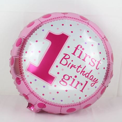 1st Birthday Girl Balloon ( Non Helium)     - BAL0152