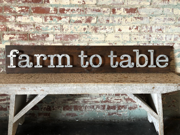 Farm to Table - Farmhouse Metal Letter Sign