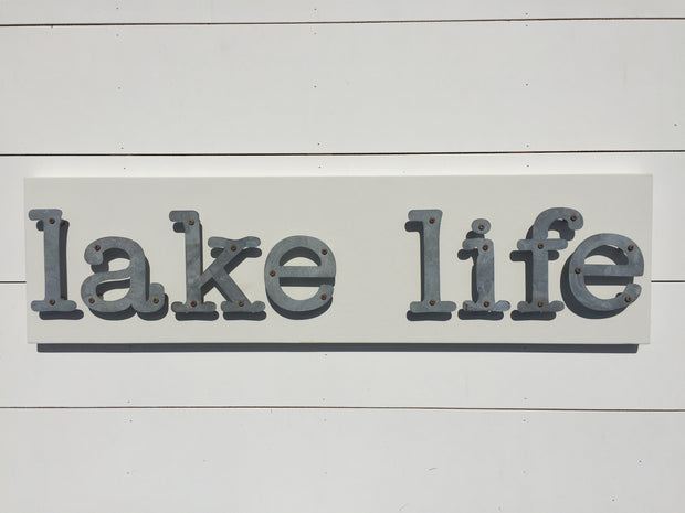 Lake Life - Livin On the Water Metal Letter Sign