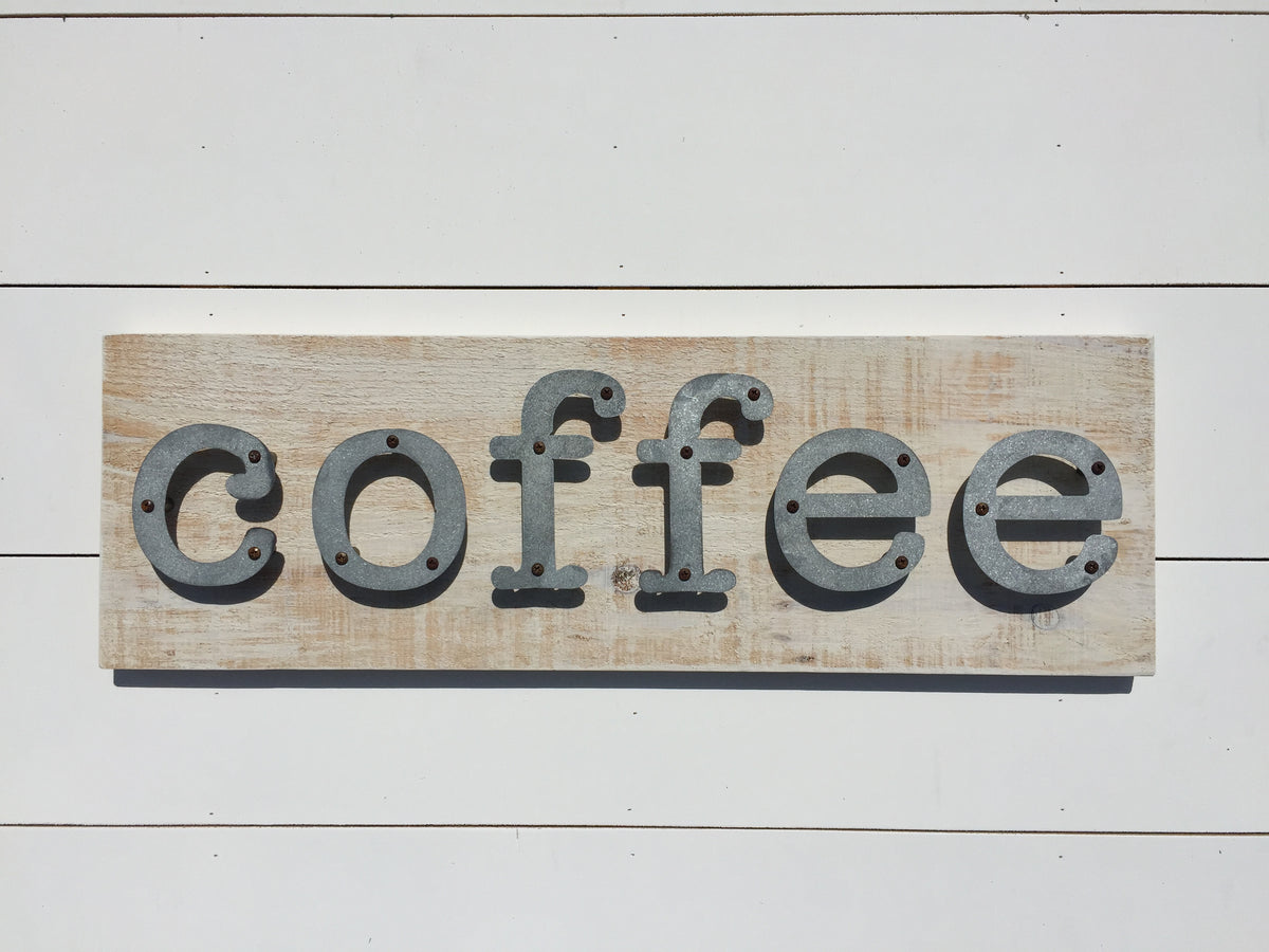 Coffee - Farmhouse Kitchen Metal Letter Sign