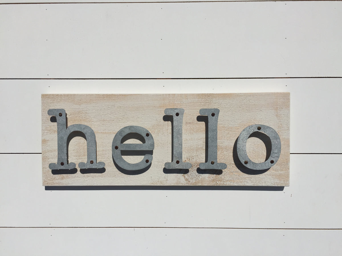 Hello - Farmhouse Metal Letter Sign