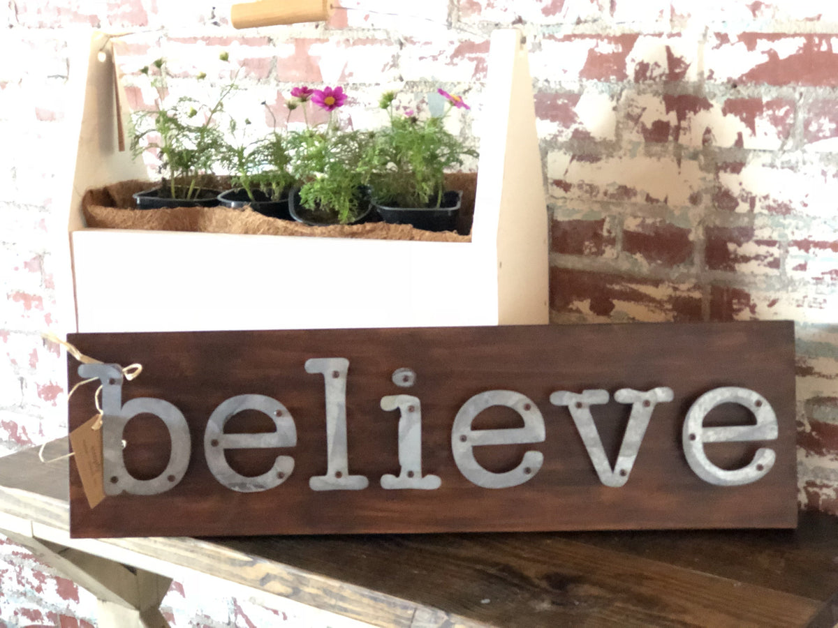 Believe - Farmhouse Metal Letter Sign