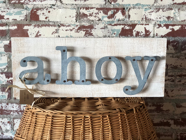 Ahoy - Livin on the Water Metal Letter Sign