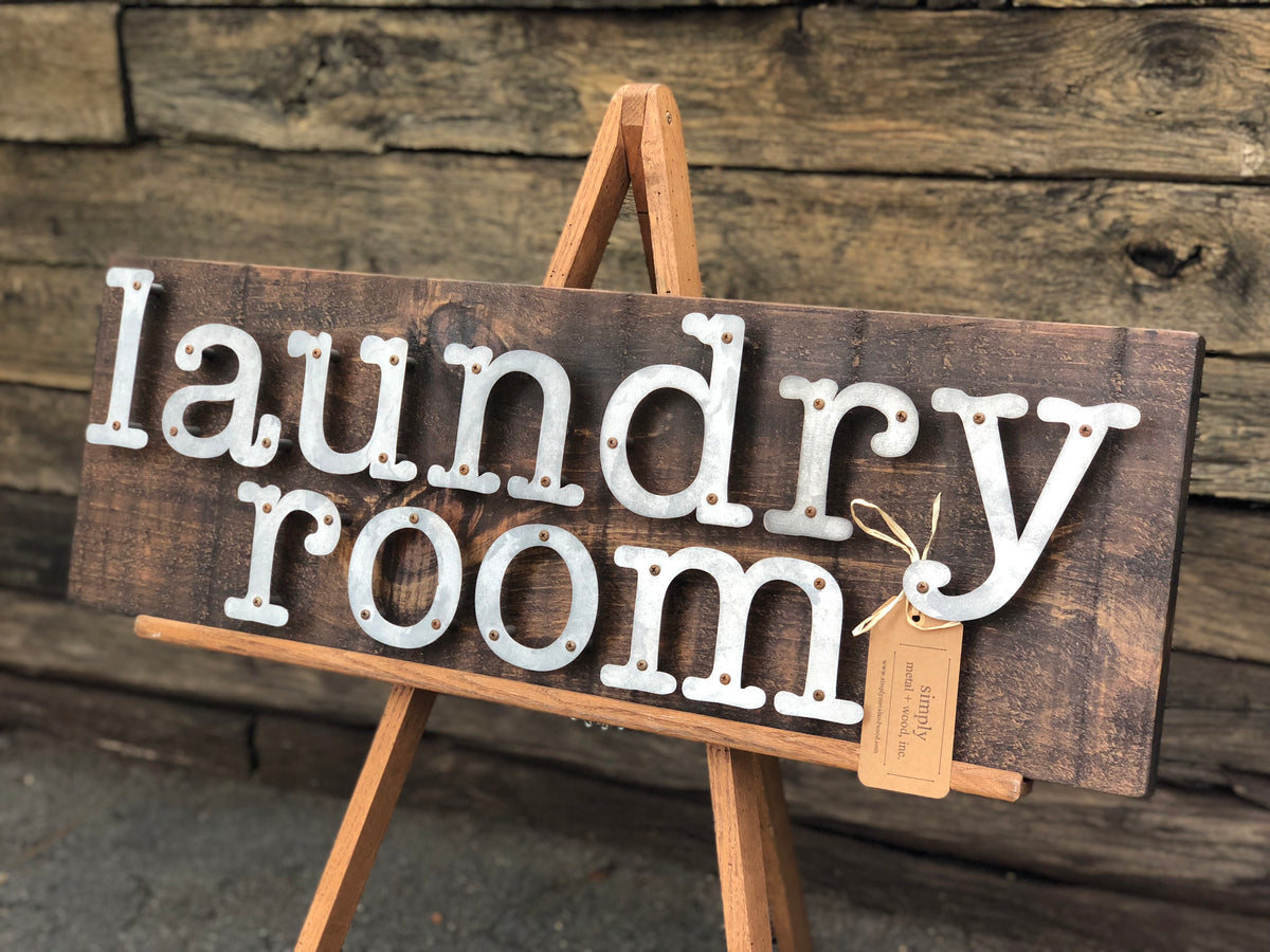 "Laundry Room Modern Rustic Farmhouse Home Decor Wood and Metal Sign 11"" x 36"""