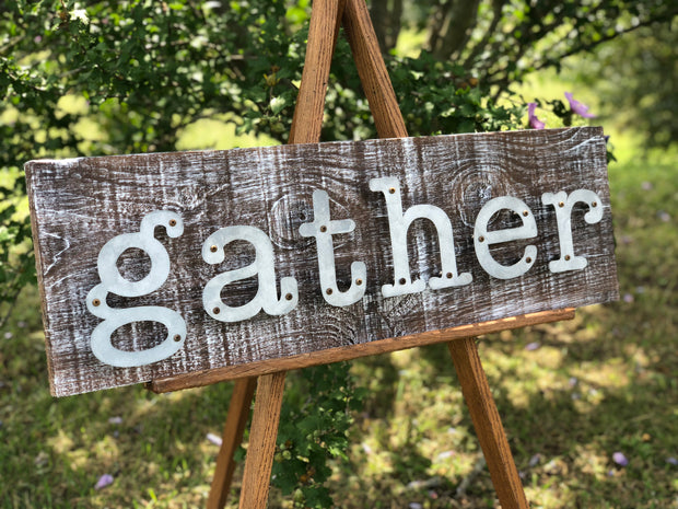 Gather - Farmhouse Metal Letter Sign