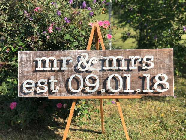 Mr & Mrs Est Date Great Gift for Wedding or Anniversary