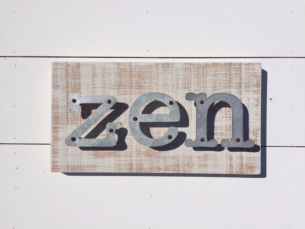 Zen - Farmhouse Metal Letter Sign