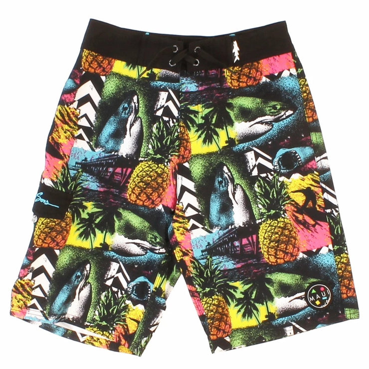 Boys Wild Shark Stretch Board short