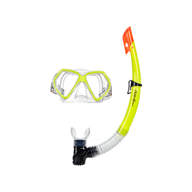 Leisure 3 Piece Diving Set Mask Snorkel Fins,Yellow