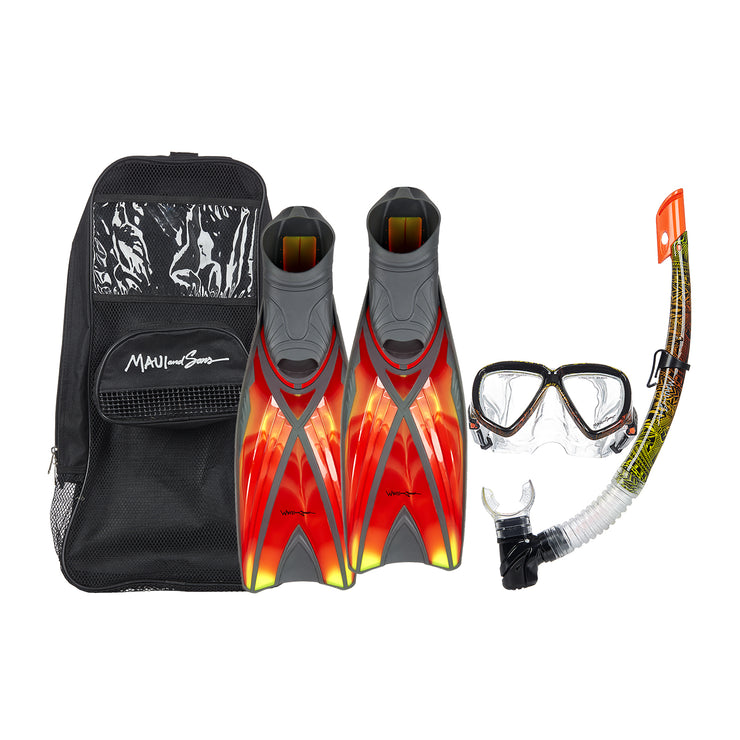3 Piece Diving Set Mask Snorkel Fins-Multi Colors