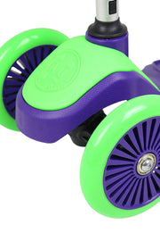 Kids 3-Wheeled Scooter With Sturdy Handlebars And Working Brake (Purple / Green)
