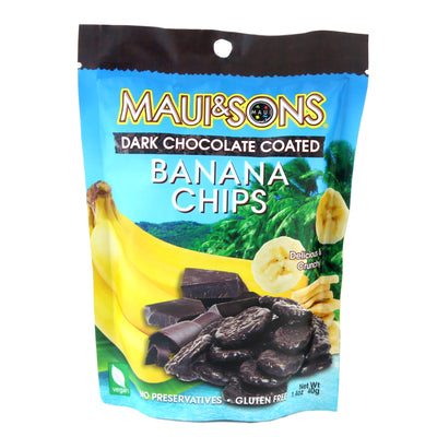Maui And Sons Chocolate Banana Chips, 1.4 OZ packs- 10,18 or 42 case pack