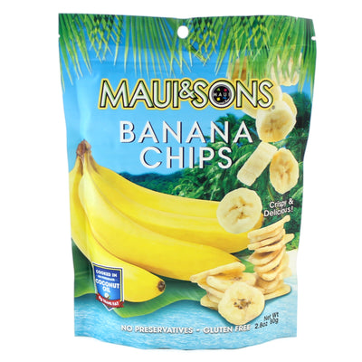Maui And Sons Banana Chips, 2.8OZ packs- 6,12 or 22 case pack