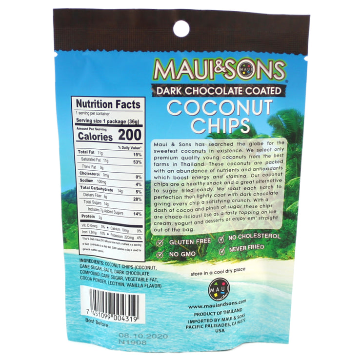 Maui and Sons Chocolate Coconut Chips - 1.2 oz bag-12,20 or 48 case pack