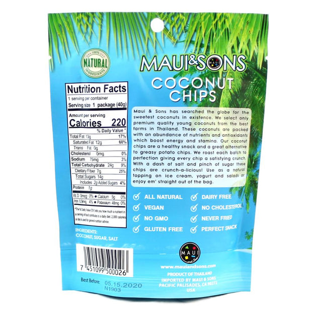 Maui and Sons Coconut Chips - 2.8 oz bag-6,10 or 22 case pack