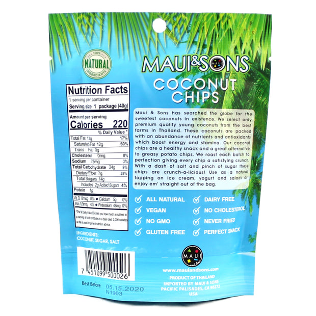Maui and Sons Coconut Chips 1.4oz packs-9, 18 or 34 case pack