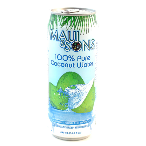 Maui And Sons 100% Pure Coconut Water 490ml can-6,10 or 20 case pack