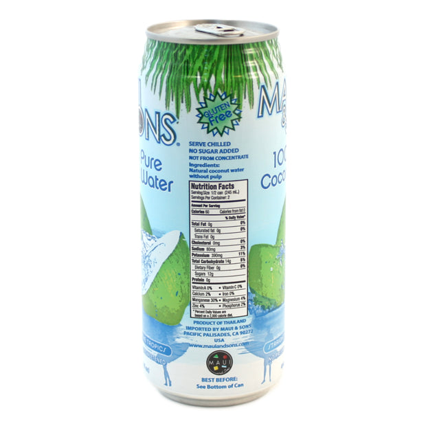 Maui And Sons 100% Pure Coconut Water 16.5 oz /490 ml can-6,10, or 20 case pack